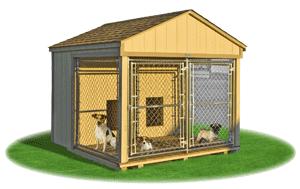 medium double animal kennel outside